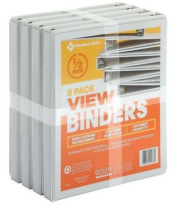 "8 Pack 1/2"" White View Binders 125 Sheet Capacity Round Ring"