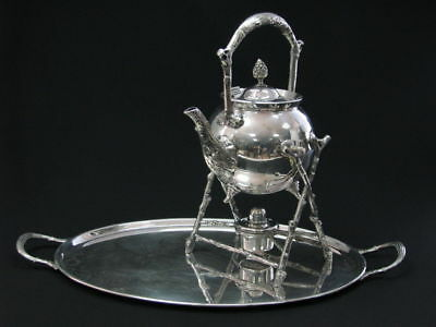 Antique Silver Plate Elkington Tray Sheffield Atkin Epns Tea Pot Kettle Stand
