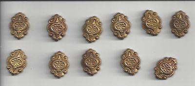 11 Old Decorative Pieces 15/16 by 5/8 inch Very Ornate Metal Jewelry Making?