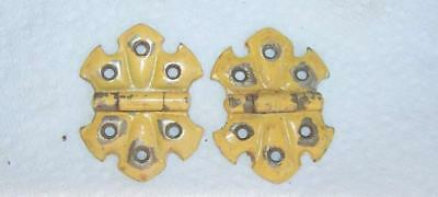 "ornate shabby chic yellow paint stanley sweetheart  2"" cupboard door hinges 2"
