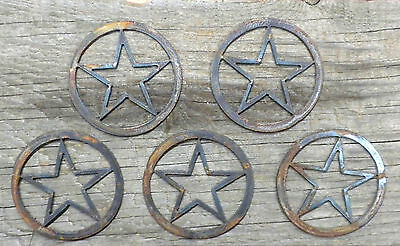 Lot of 5 Texas Stars 3 in Rough Rusty Vintage Metal Art Ornament Craft Stencil