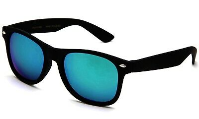 Youth Horned Rim Sunglasses Rubberized Frames Flash Lens with Temple Accents!