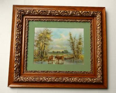 Antique Large Ornate Double & Gesso Picture Frame Vintage Chandler Cattle Print