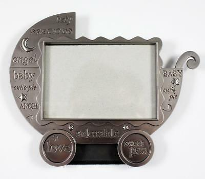 """Fetco Home Decor Pewter Baby Carriage Buggy Photo Frame 5"""" x 3.5"""""""