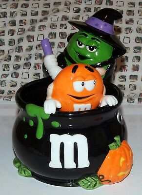M&M Collectible Galerie Halloween Cermaic Candy Dish Witch Pot  DAMAGED ARM