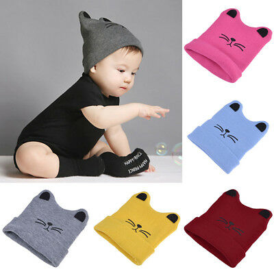 Baby Infant Toddler Cat Ear Wool Knitted Winter Warm Crochet Hat Beanie Cap