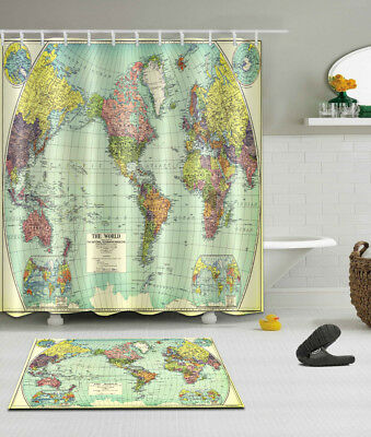 72x72 The World Map Shower Curtain Liner Bathroom Waterproof Fabric 12 Hooks