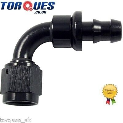 AN -10 (10AN JIC AN10) 90 Degree Push-On Socketless Fuel Hose Fitting In Black