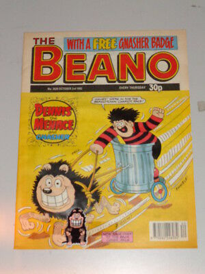 Beano #2620 3Rd October 1992 British Weekly Dennis The Menace With Free Gift
