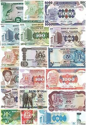 Uganda set with 19 Banknotes 5 - 5000 Shillings 1960's - 1997_UNC