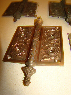 4 Antique ornate Victorian Solid Bronze Door Hinges Pat. Nov 28/1876 steeple top