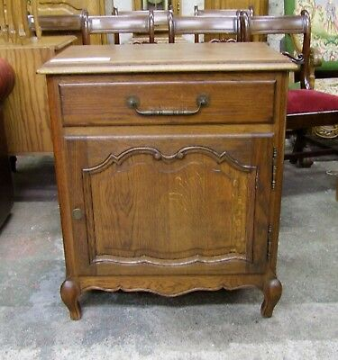 Louis Xv Style French Carved Dark Oak 1 Door/1 Drawer Side Cabinet (Cobsc07)