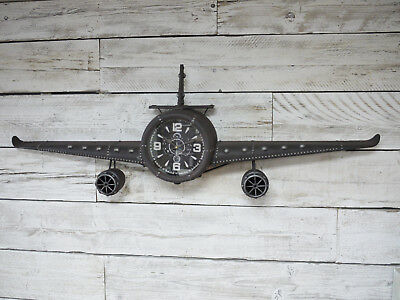 Large Vintage Aeroplane Wall Clock Metal Novelty Retro Roman Numerals Timepiece