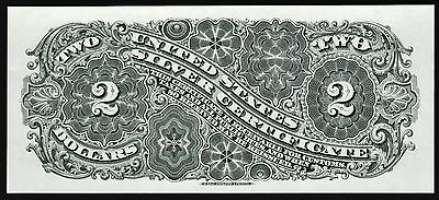 BEP Proof Print or Intaglio Impression of Back of 1886 $2 SILVER CERTIFICATE