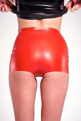RED Latex Rubber Ladies Hot Pants  Large   2nd BIN