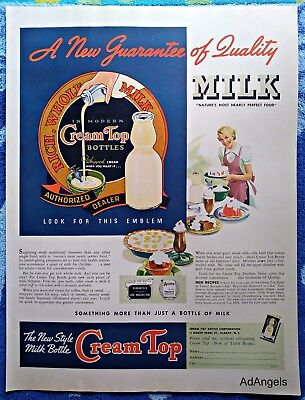1939 Cream Top Milk Bottle New Guarantee Of Quality Lady Table Cakes ad