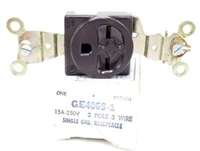New General Electric Ge4069-1 Single Ground Receptacle Ge40691, 2-Pole, 3-Wire