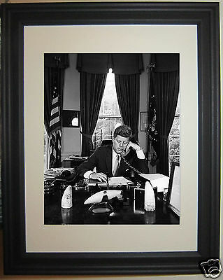 President John F. Kennedy JFK Oval Office Framed & Matted Photo Photograph