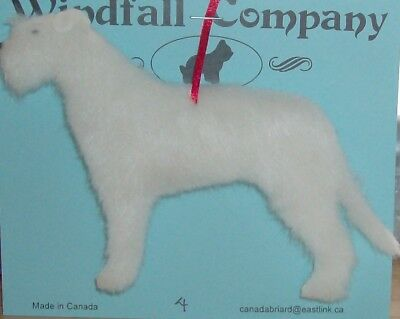 White Irish Wolfhound Dog Soft Plush Christmas Canine Ornament # 4 by WC