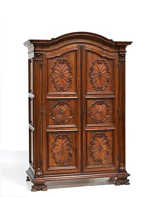6956 : Large Antique Italian Renaissance Style Carved Two Door Armoire Cabinet