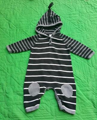 Hanna Andersson 70 Boy 12-18 Mos Black White Sweater Hoodie Romper Elbow Patches
