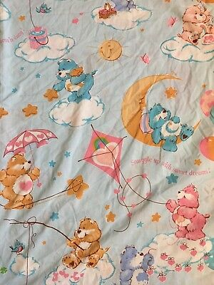 Vintage Care Bears Bear Turquoise Blue and Pink Twin Flat Sheet Party Tablecloth