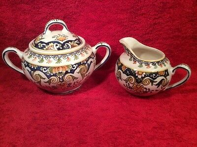 Antique Rouen Decor Desvres French Faience Sugar Creamer, ff415 ANTIQUE GIFT !!