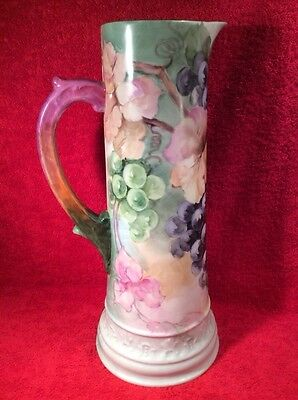 Antique Limoges T&V Large Hand Painted Tankard Pitcher c1892-1907, L300