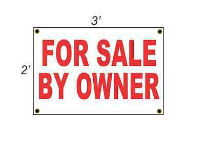 2x3 FOR SALE BY OWNER Red & White Banner Sign Discount Size & Price FREE SHIP