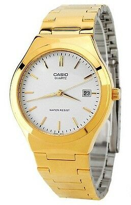 Casio MTP1170N-7A Mens Gold Tone Stainless Steel Analog Dress Watch Date White