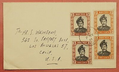1961 Brunei Multi Franked Cover To Usa