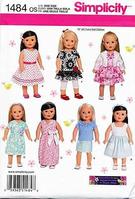 """Simplicity Sewing Pattern 1484 18"""" Doll Clothes - Dresses, Top, Skirt, Leggings"""