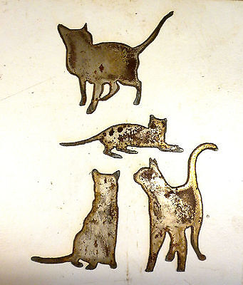 """Lot of 4 Different Cat Shapes 3"""" Rusty Metal Art Vintage Ornament Craft Sign"""