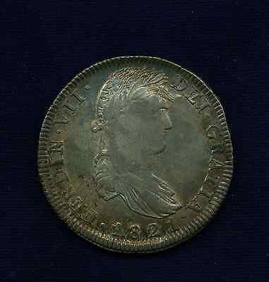 MEXICO WAR OF INDEPENDENCE ZACATECAS 1821-ZsRG 8 REALES SILVER COIN, ABOUT UNC.