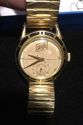 Schlitz Beer Rare 14K Gold Filled Lord Elgin Shockmaster Retirement Watch 60's