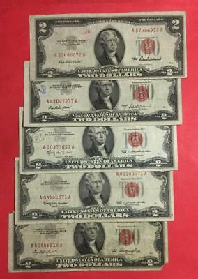 1953-1963 $2 RED US Deuces SEt of 5 Legal Tenders X972 RED DEUCES! Currency