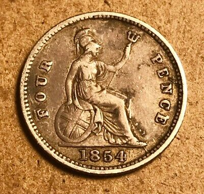 GREAT BRITAIN - Queen Victoria - Four Pence (GROAT) 1854 - Very Fine Silver Coin