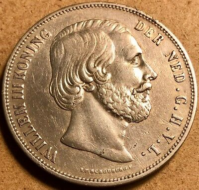 NETHERLANDS Willem III 2 1/2 Gulden 1862 SCARCE Silver Crown Extra Fine+