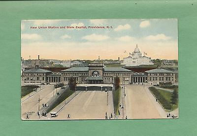 TRAIN DEPOT, RAILROAD STATION In PROVIDENCE, RI On Vintage 1915 Postcard