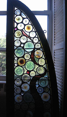 Antique Stained Leaded Glass Arched Dolce Domum Circle Bull's Eyes Jewel Pieces