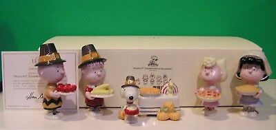 LENOX PEANUTS THANKSGIVING 6 piece Set NEW in BOX with COA Snoopy Linus Lucy
