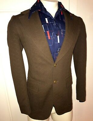 Vtg 70s Academy Brown POLYESTER Mens SMALL Sport Coat Prom Jacket Suit Blazer S