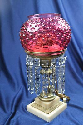 Cornelius & Co Cranberry Hobnail Shade On Brass Lamp W/cut Prisms Ca 1843