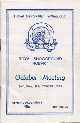 1975  HMTC Trotting Race Book:  CAULFIELD  CUP  DAY/Fields  ....  (Analight)