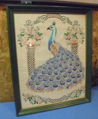 Vintage Embroidered Needlepoint Peacock Linen Tapestry Framed 18 x 22 Midcentury