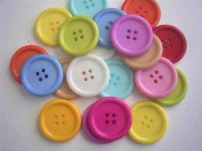 BB BUTTONS 25mm large round mixed pack of 24 BULK sewing craft scrapbooking