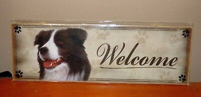 "New -  BORDER COLLIE  WELCOME SIGN - 12"" x 4"" Plaque - Wall Decor- Picture- Dog"