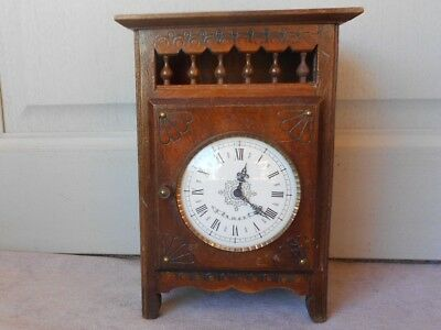 Antique French Breton Brittany Carved Wooden CLOCK