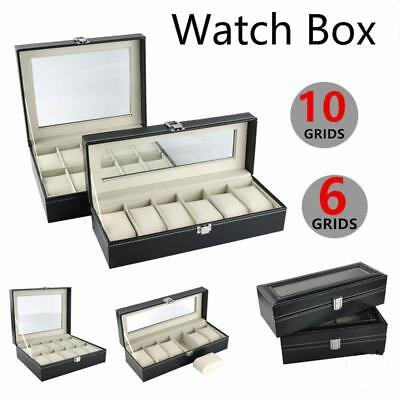 Faux Leather Watch Case Storage Display Box Organizer Jewelery Collection LC