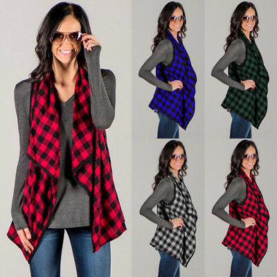US STOCK Winter Women Sleeveless Waistcoat Plaid&Check Long Vest Jacket Cardigan